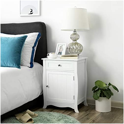SONGMICS White Nightstand, End Table with Storage Cabinet and Drawer, Wooden Bedside Table, Large Capacity, Easy to…