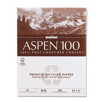 ASPEN 100% Recycled Office Paper, 92 Bright, 20lb, 8-1/2 x 11, White, 5000/Ctn