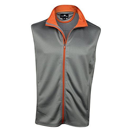 The Weather Apparel Co Poly Flex Golf Vest 2017 Grey/Orange Small by The Weather Apparel Co