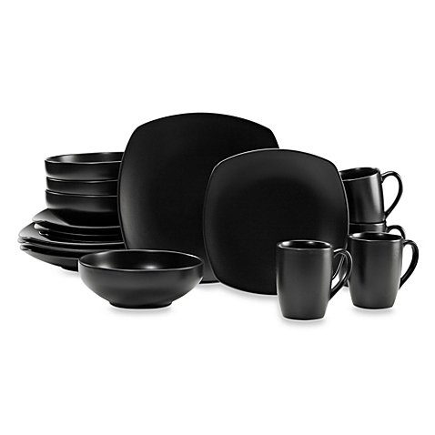 Gibson Home Paradiso 16-Piece Square Dinnerware Set in Black