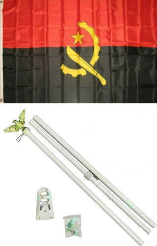 ALBATROS 3 ft x 5 ft Angola Flag White with Pole Kit Set for Home and Parades, Official Party, All Weather Indoors Outdoors