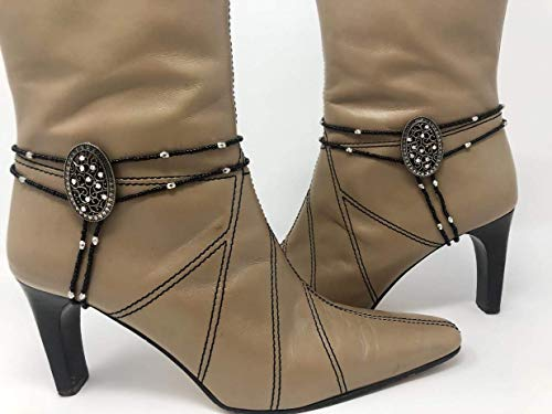 Jewelry4Boots by Merchant 2 World, LLC made of metal sliders, seed beads and glass.