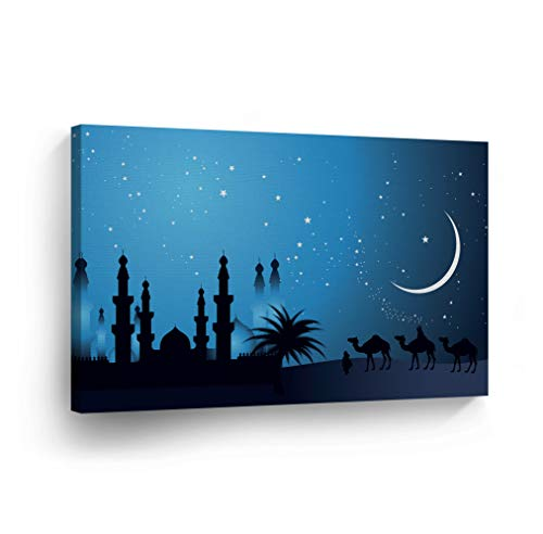 Islamic Wall Art Arabian Nights with The Stars Canvas Print Home Decor Arabic Calligraphy Decorative Artwork Gallery Stretched and Ready to Hang -%100 Handmade in The USA - 8x12 (Arabian Nights Wall Art)