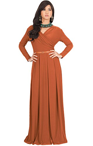 KOH KOH Womens Long V-Neck Sleeve with Sleeves Fall Formal Flowy Floor Length Evening Casual Day Modest Abaya Muslim Gown Gowns Maxi Dress Dresses for Women, Orange L 12-14 (3)