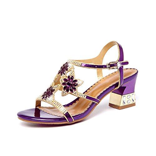 Zapatos de Mujer Zapatos de Club de Verano de Cuero Sandalias Gruesas Diamantes Fiesta de Moda Casual Noche Oro Púrpura Azul Sandalias Gruesas (Color : Púrpura, tamaño : 36)