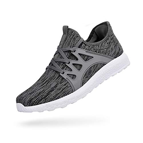 Emicii Men Casual Mesh Lace-up Gym Lightweight Shoes Fascinating Walk Athletic/Grey White Size 9.5