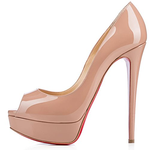 Platform Nude Stiletto Party Bottom Sandals Peep Womens Wedding Caitlin Red Pan High Toe Heels Pumps Dress Shoes BnqXF6w