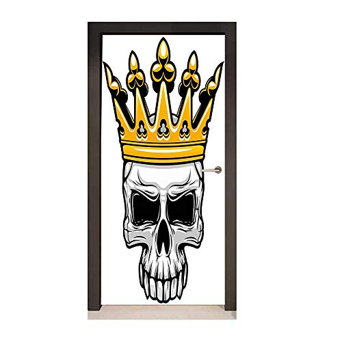 Homesonne King Queen Size 3D Door Sticker Hand Drawn Crowned Skull Cranium with Coronet Tiara Halloween Themed Image Modern Art Golden and Light Grey,W23xH70]()