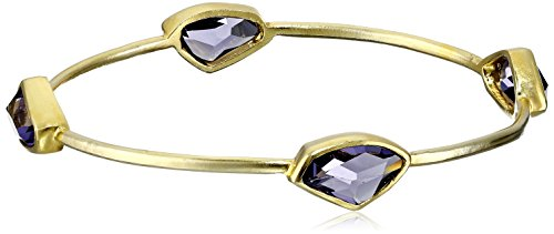 Sterling Silver with Yellow Gold Plating Tanzanite Color Crystal Bangle Bracelet