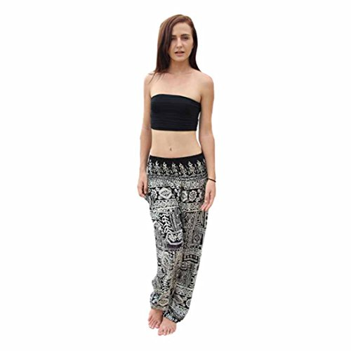 Shybuy Hot Sale Men Women Thai Harem Cotton Trousers Boho Festival Hippy Smock High Waist Yoga Pants (Free Size, Black) by Shybuy