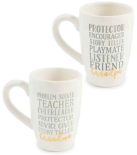 Grandma and Grandpa Mug Gift Set for Grandparents | Perfect Presents from Mud Pie for Grandmother and Grandfather