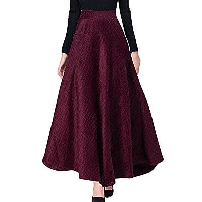 Autumn Winter A Line Plaid Skirt Elastic High Waist Long Wool Skirt Big Swing