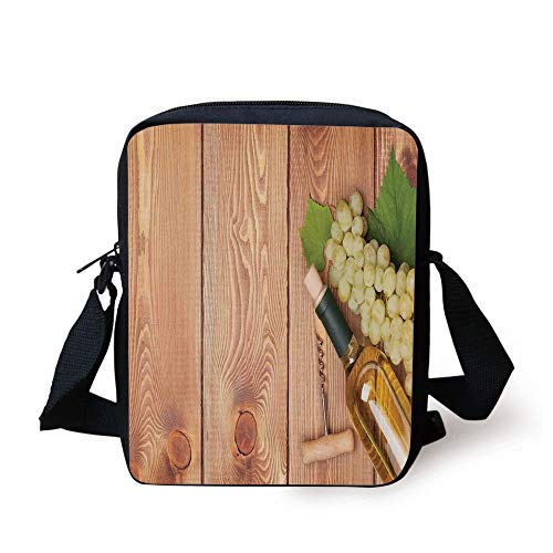 (Winery Decor,Wine Bottle and Bunch of Grapes on Wooden Table Background Romantic Italian Dinner Theme,Green Brown Print Kids Crossbody Messenger Bag Purse)