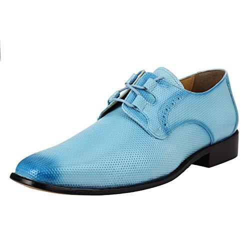 - Liberty Derby Dress Shoes Men's Formal PU Leather Classic Tread Design | Lace Up Shoes (12 M US, Powder Blue)