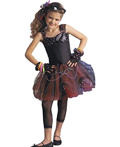 Child's Girl's 80s Punk Diva Dress Costume Large 12-14