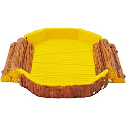 Reptile food bowl OMEM Reptile Habitat, Reptile breeding box,aquarium fish tank ornament , for including tortoise, insect,crickets ,crabs,other reptiles animal or amphibians (Trapezoid food bowl)