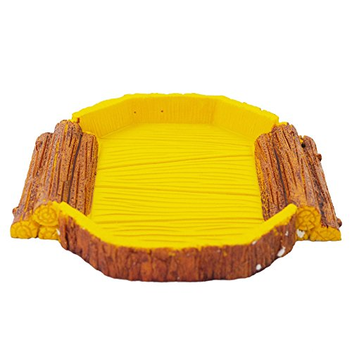 OMEM Reptile food bowl,Reptile Habitat, Reptile breeding box,aquarium fish tank ornament , for including tortoise, insect,crickets ,crabs,other reptiles animal or amphibians (Trapezoid food bowl) (Tortoise Dish)