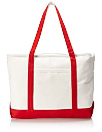 "DALIX 22"" Extra Large Cotton Canvas Zippered Shopping Tote Grocery Bag in Red"