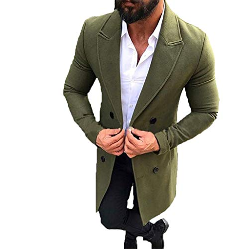 Clearance Forthery Men's Trench Coat Wool Warm Winter Long Outerwear Overcoat Jacket