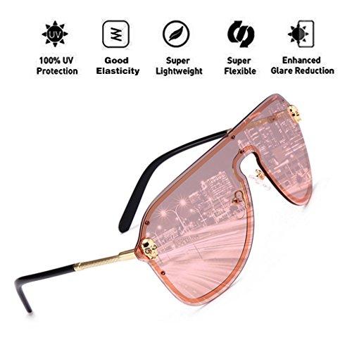 para con de Skull Protección Piece Frame Hombres Metal HD UV400 ATNKE Decoration PC gran Rosado sol de Gafas Mujeres One Shield de Clear Gafas Moda Lens tamaño Sq4OnHv
