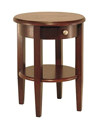 Delightful Winsome Wood Round End Table With Drawer And Shelf, Antique Walnut