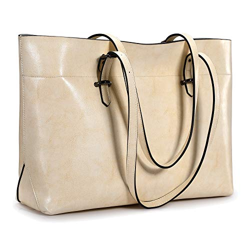 S-ZONE Women's Vintage Genuine Leather Tote Shoulder Bag Handbag Upgraded Version