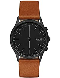 Jorn Stainless Steel IP and Leather Hybrid Smartwatch, Color Black IP, Cognac SKT1202
