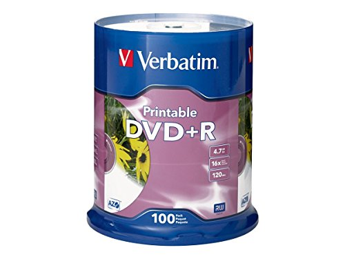 Verbatim 4.7GB up to16x White Inkjet Printable Recordable Disc DVD+R (100 Disc Spindle) 95145