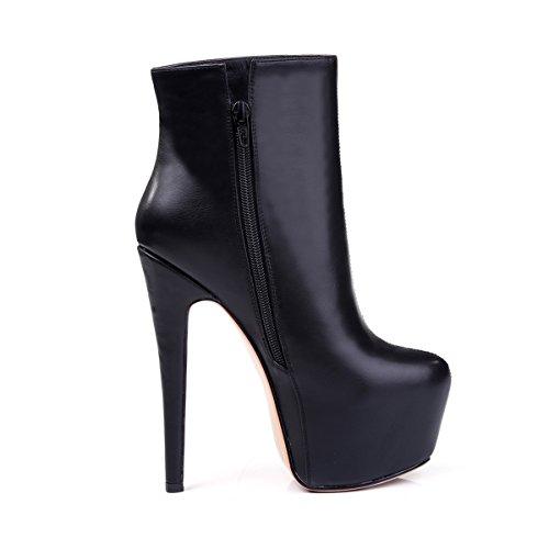 Onlymaker Almond Toe Platform Red Sole High Slim Heel Ankle Boots Bright Black US13