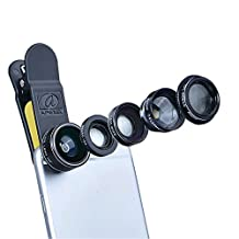 5 in 1 HD Camera Lens Kit by DTFDTW, 198 Degree Fisheye Lens,0.63 Wide Angle Lens,15x Macro Lens,2X Telephoto Lens, CPL Lens for Phone SE/ 6/ 6s/ 6s Plus /Samsung Galaxy and Most Mobile Phone (5 in 1)