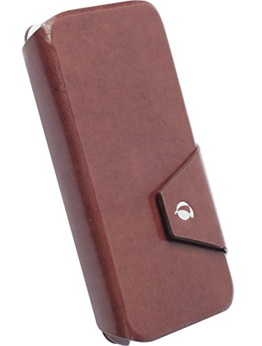 (Krusell Kalmar FlipWallet Leather Case for iPhone 5/5s/5c - Retail Packaging - Brown )