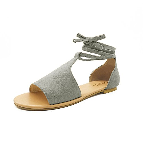 POHOK Summer Round Toe Breathable Lace-Up Beach Sandals Rome Casual Flat Lace Shoes(42,Gray) ()