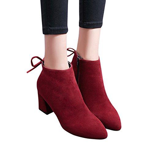 Kanzd Mujer Botas Square Heel Lace Up Botines Martin High Heels Plataformas Botas (41, Gris) Vino