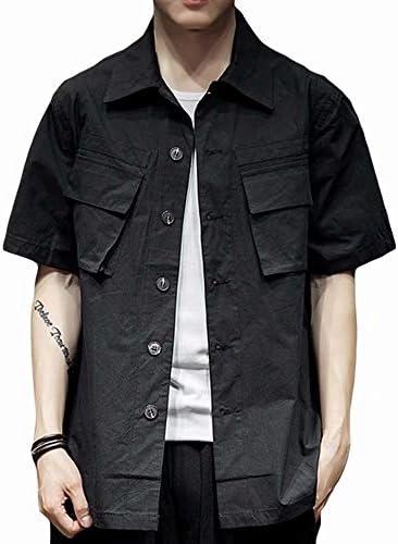 メンズ 半袖シャツ カジュアルシャツ 夏服 ボタンダウンカラー 綿 100% オックスフォードシャツ 2つポケット付き ヴィンテージ 復古風 作業服 ワークウェア 2色 大きいサイズ