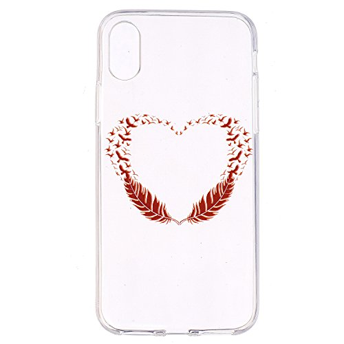 iphone 8 Custodia , Leiai Moda Uccello Cuore Trasparente Silicone Morbido TPU Cover Case Custodia per Apple iphone 8
