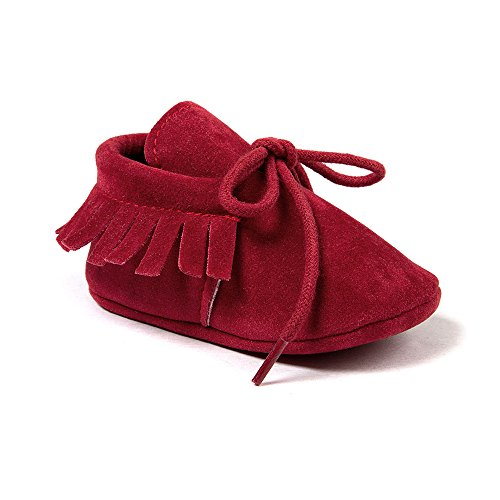 OOSAKU Baby Boys Genuine Leather Soft Bottom Lace Up Moccasins Crib Shoes (12-18 Months, Red) (Soft Boys Leather)