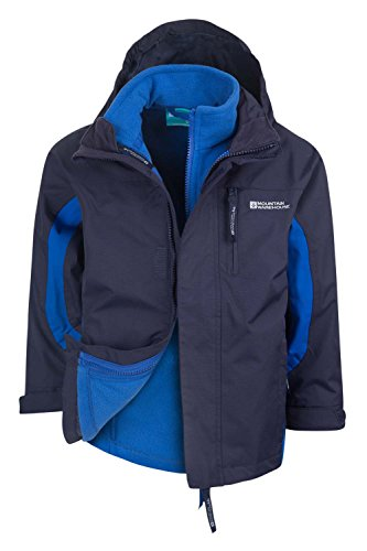 Mountain Warehouse Cannonball 3In1 Kinder Wasserdichte Jacke Doppeljacke Abnehmbarer Kapuze Fleece Marineblau 128
