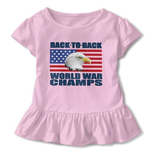 Back-to-Back World War Champs Baby Skirts Lovely Little Girls Soft Short Sleeve Casual Dress Outfit 2-6 Years. Pink]()
