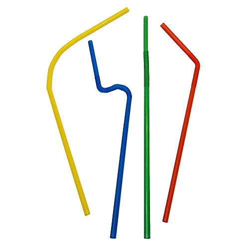 Price comparison product image Perfect Stix Flexible ,  Bendy Straws Wrapped Neon Assorted ( pack of 100)