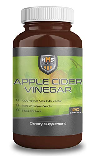 Apple Cider Vinegar Capsules, 100% Pure, Powerful 120 Vegetarian Pills - Weight Loss, Detox, Digestion and Immune Support - 2 Month Supply, All Natural 1200mg Serving