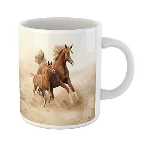 (Semtomn Funny Coffee Mug Brown Animal Purebred White Horse in Desert Foal 11 Oz Ceramic Coffee Mugs Tea Cup Best Gift Or Souvenir )