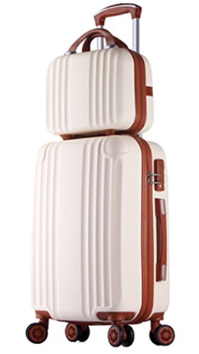 Womens ABS Spinner Luggage Candy Color Hardside Rolling Zipper Suitcase - 24 Inch Beige by Songren