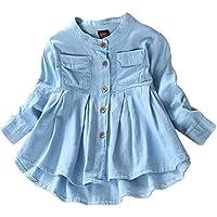 Toddler Kid Baby Girls Top Ruffled Hem Denim Shirt Long Sleeve Ruffle Blouses Autumn Casual Clothes Set