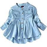 Toddler Kid Baby Girls Top Ruffled Hem Denim Shirt Long Sleeve Ruffle Blouses Autumn Casual Clothes Set (Blue, 5-6 Years)