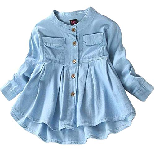 - Toddler Kid Baby Girls Top Ruffled Hem Denim Shirt Long Sleeve Ruffle Blouses Autumn Casual Clothes Set (Blue, 4-5 Years)