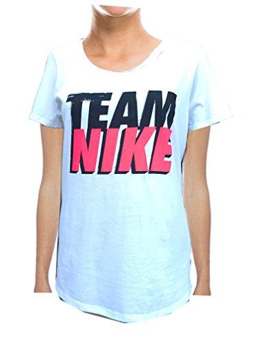 (NIKE Women's Scoop Neck T-Shirt Athletic Cut (Medium, Team)