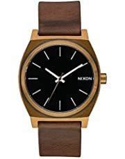 NIXON Time Teller A045 - Brass/Black/Brown - 100m Water Resistant Men's Analog Fashion Watch (37mm Watch Face, 19.5mm-18mm Stainless Steel Band)