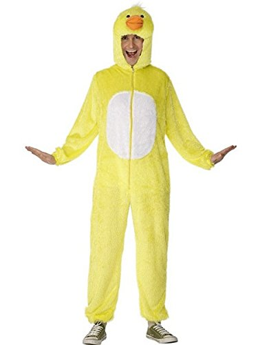 Smiffys Adult Unisex Duck Costume, Jumpsuit with Hood, Party Animals, Serious Fun, Size L, 31685