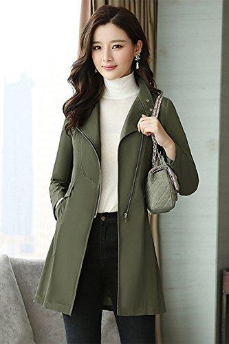 Inside Army green Jacket Coats Women'S Neck Jackets Fall amp; Mock Long Sleeved nbsp;Female Women'S A SCOATWWH Long Windbreaker SqTaSwI