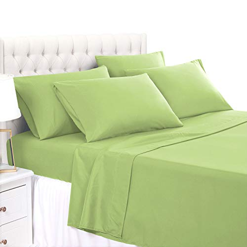 - BASIC CHOICE 4 Piece Twin Size Sheet Set - Luxury Soft 2000 Series Wrinkle & Fade Resistant Bed Sheets, Lime Green